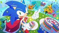 Sonic the Hedgehog celebrates his...